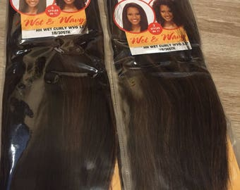 Indian Collection Human Hair Extensions Weave Wet to Curly colour 1b/3030 x 2 packs