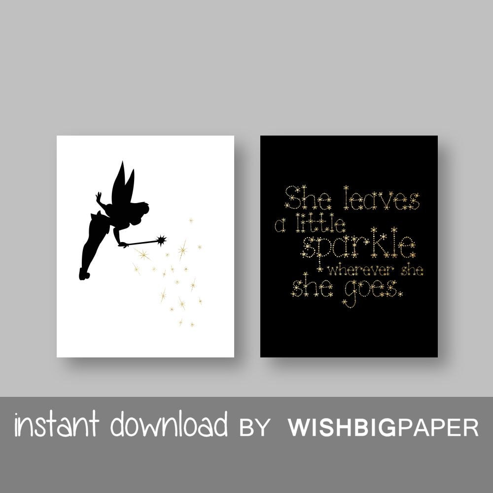 Tinkerbell quote wall art print instant download set of two zoom voltagebd Choice Image