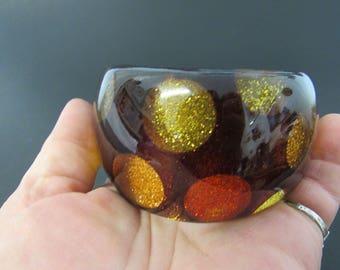 Vintage Chunky Polka Dot Bangle Bracelet Fall Glitter Colors