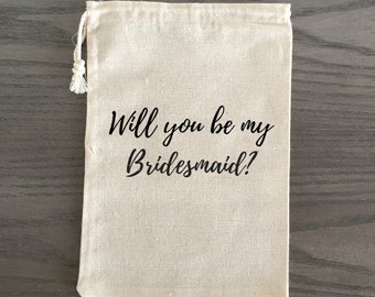 Will You Be My Bridesmaid Maid of Honor Wedding Gift Favor Bags - Will You Be Script