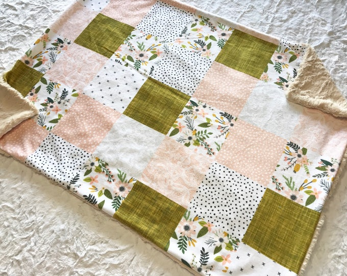 Featured listing image: Floral and Lace Baby Girl Blanket. Baby MINKY Blanket, Baby Bedding. Baby Shower Gift, Ready to Ship Baby Blanket, Pink and Mustard
