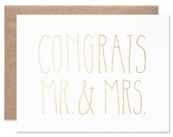 Foil Congrats Mr & Mrs