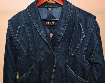 Vintage Blue Jean Jacket Heavy Warm Women Size Small