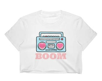 Women's Love Boombox You Make My Heart Go BOOM Crop Top