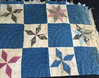 Vintage Early Hand Quilted Blue Calico Star Cutter Quilt Piece