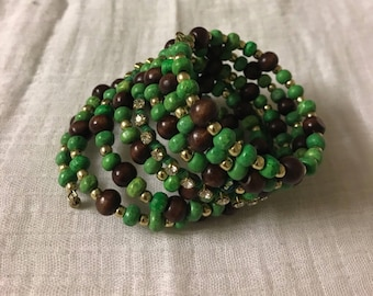 Green and Brown multi strand coil wrap bracelet