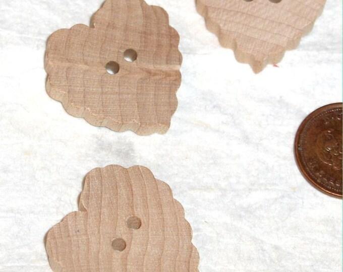 Wood  Buttons - Set of 4 - Fancy Heart Shaped