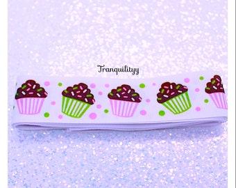 "Cupcake Ribbon ,1.5""  Grosgrain Cute n Yummy Cupcake Ribbon, Hair Bows, Hair Clips ,2 Yards By: tranquilityy"