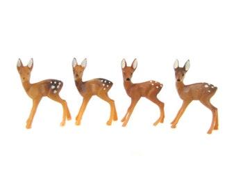 4 Miniature Plastic Deer Figurines, Vintage Deer, Miniature Fairy Garden Terrarium Deer Accessories, Miniature Christmas Craft Figures