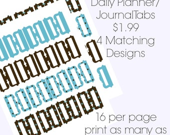 Printable Planner Tabs Blue and Brown Dotted, Bible Journaling Tabs, Bible Tab, Journaling Tabs
