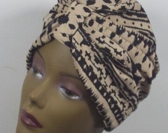 Rayon poly,  fashion turban, hat, tribal print,  full turban, beige, black, vintage style, size Sm, Med, L, XL. Free shipping USA