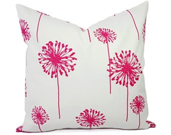 Two Dandelion Pillow Covers - Hot Pink and White Pillows - Pink Throw Pillow - Dandelion Throw Pillow - Hot Pink Pillow - Bright Pink Pillow
