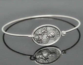 St Gerard Bangle, St Gerard Jewelry, St Gerard Bracelet, Sterling Silver Bangle, Bracelet, Christian Jewelry, Catholic Jewelry