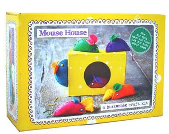 Sewing Kit to make 6 mouse and their pieces of cheese / creative Kit DIY for kid