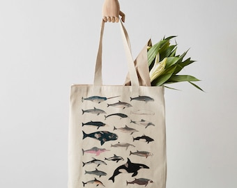 Whale & Dolphin Tote Bag, Canvas Tote Bag, Fair Trade, Cetacean, Whale Print, Whale Art, Weekender Bag, Shoulder Bag, Canvas Bag, Tote Bags
