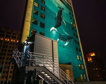 Whale Mural Detroit at Night Vertical Fine Art Photograph on Metallic Paper