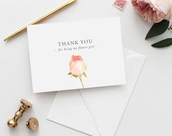 Printable 5x7 Thank You for being my Flower Girl Wedding Card | Thank You Flower Girl Wedding Card | Wedding Thank You Card