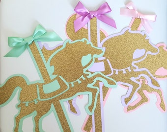 Set of 3 or 6. LARGE Carousel Horse sign embellishment in gold glitter with satin bow. Party decor. Pink, mint, purple, lavender, blue.