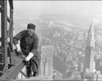 Poster, Many Sizes Available; Steel Worker Empire State Building C1930