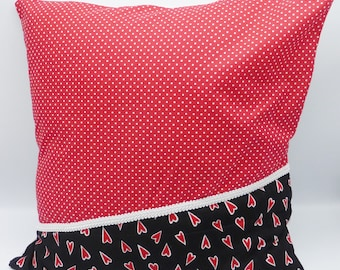 Red and black spots and hearts pillow in cotton and linen