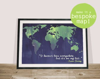 Bucket List Map / World Custom Map / Personalized Travel Map Print / Places I've Been / Wanderlust Map / Bespoke Map / Made To Order Map