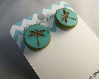 dragonfly glass studs ... picasso glass bead studs