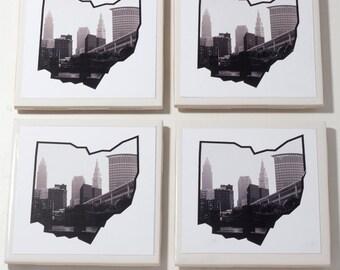 State of Ohio Cleveland Skyline Coasters // Set of 4 Ceramic// Cleveland Ohio // Home Decor// Wedding