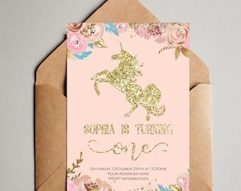 Unicorn Birthday Invitation - Girl 1st First Birthday Party Invitation - Blush Pink Gold Unicorn invitation  Floral Gold Glitter Invitation