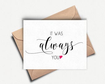 First Anniversary Card, It Was Always You, To my Bride, To my Groom on our Wedding Day, Love Card for Husband, Wife, Wedding Day Card