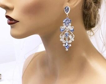 Bridal earrings, Purple Wedding earrings, Bridal jewelry, Wedding jewelry, crystal chandelier evening earrings, Lavender Prom earrings