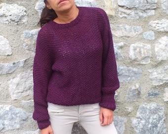 Knit sweater Purple sweater wool sweater