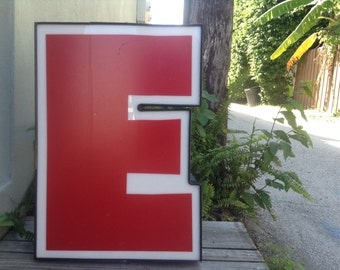 VINTAGE DECOR...E red white channel marquee aluminum letter,wall hanging,steampunk,wedding initial,office supplies
