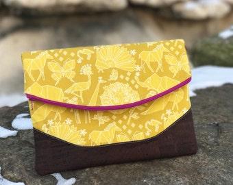 Heidi Foldover Clutch in origami animals + cork   Clutch   Purse   Handbag