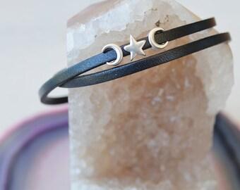 Women's Leather Bracelet | Waxing & Waning Crescent Moon + Star Leather Wrap Bracelet