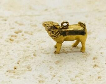 Yellow Gold Solid Pug Charm, Vintage Pug Charm, Vintage Charm, Pug Dog Charm, Dog Charm, Dog Jewelry, 14 Karat Yellow Gold Pug Charm