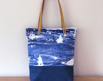Handmade 'Porthmeor' bag – sea print/denim with mustard yellow leather straps