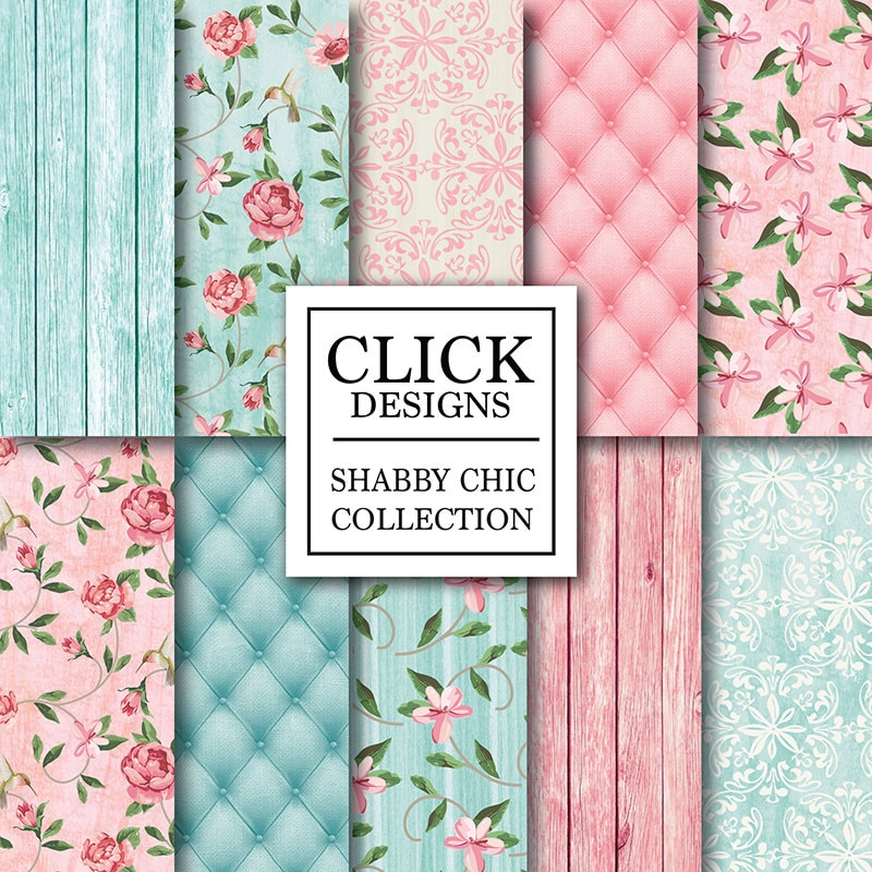 Shabby Chic Wood Digital Paper SHABBY PINK TURQUOISE Floral Background Romantic Papers Upholstery For Wedding Invites Carts