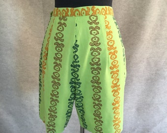 Vintage 60's High Waist Shorts, Awesome Lime Green Print, Aloha Hawaiian Tiki Oasis Style, Size Small to Medium