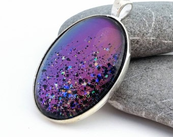 """California Sunset Large Silver Pendant - Celestial Color Changing """"Stone"""" - Nail Polish Jewelry Style"""