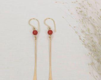 brass earrings, hammered brass earrings, handmade jewelry, semiprecious stone earrings