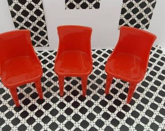 Plasco chairs Kitchen  Toy Dollhouse Traditional Style 3 Bright red