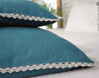 Linen pillow sham with lace- stonewashed linen  turquoise cushion- teal blue deco jumbo pillow case- Decorative pillow with lace