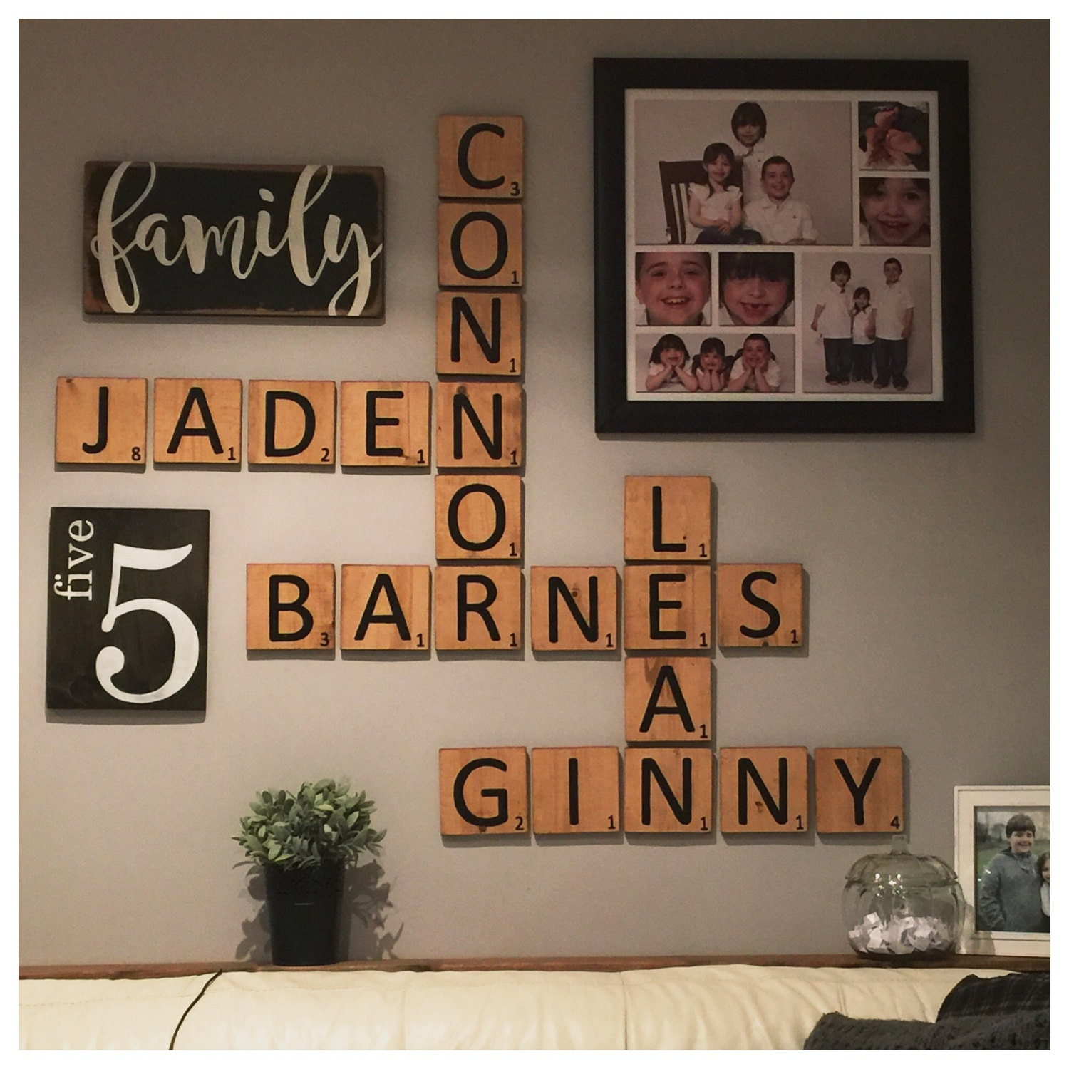 gallery wall package scrabble style family. Black Bedroom Furniture Sets. Home Design Ideas
