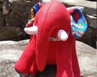 "Red Plush Elephant - ""Hero"""