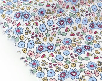 Fabric pink blue floral silky cotton lawn White x 50cm