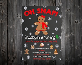 Oh Snap! Gingerbread Birthday Party Invitation