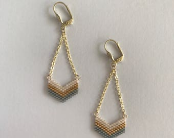 Earrings Chevron gray white and gold