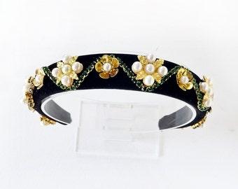 womens headbands, christmas headband women, black velvet headband, luxury statement headband, emerald green, evening, headbands for women