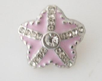 1 PC 12MM Pink Starfish Rhinestone Silver Candy Snap Charm Jewelry kb6623-s CC1810