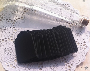 Small black kraft tags in scallop shape / cardboard gift tags in set of 50